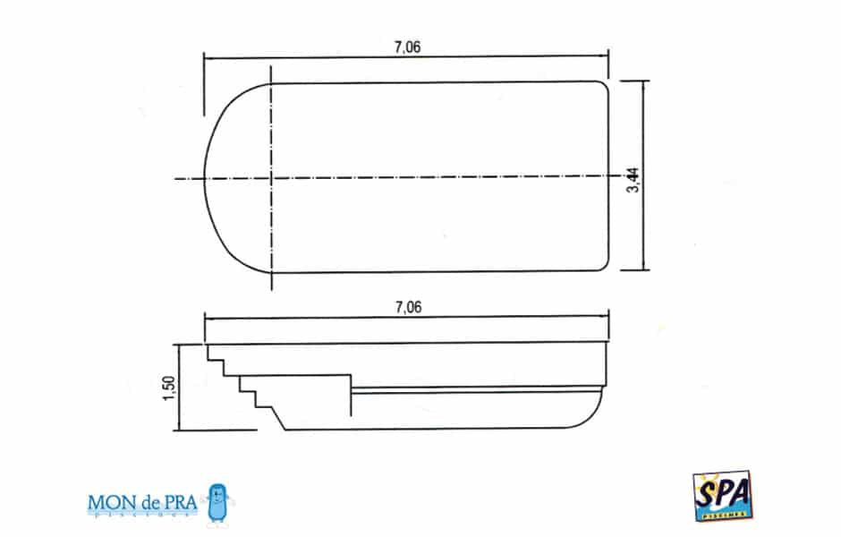 Modèle Piscine MdP 700 - SPA Piscines