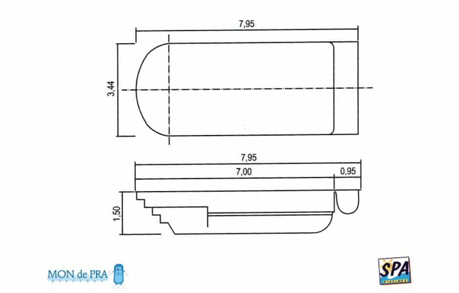 Modèle Piscine MdP 700 Coffre - SPA Piscines