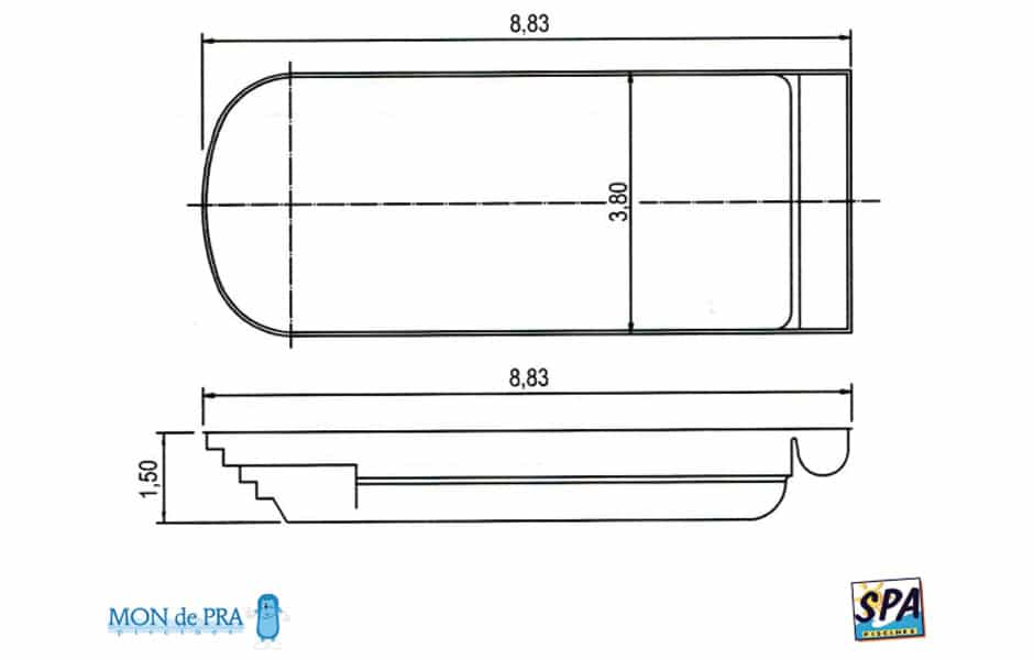 Modèle Piscine MdP 800 Coffre - SPA Piscines