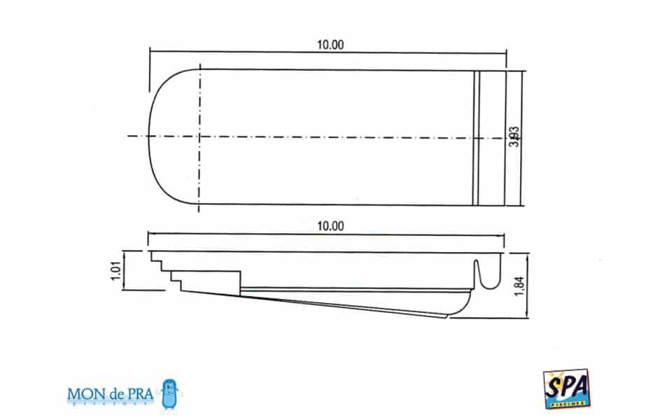 Modèle Piscine MdP 900 Coffre - SPA Piscines